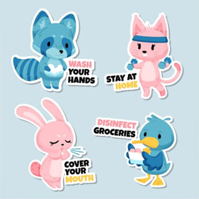Coronavirus safety kids stickers